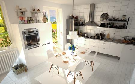 日当たりの良いキッチンの白い 3 D レンダリング デザイン