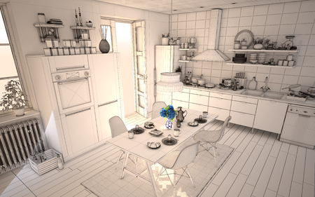 White Sunny Kitchen Wireframe