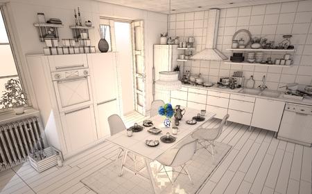 日当たりの良いキッチンの白いワイヤ フレーム