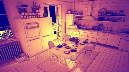 オレンジ キッチンのワイヤ フレームのインテリア デザインのコンセプト