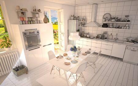 ホワイト キッチン半分ワイヤ フレーム インテリア デザイン