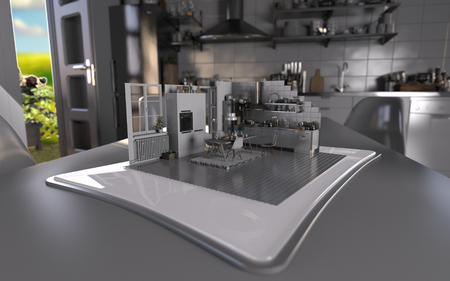 Augmented Reality Tablet Kitchen Interior Design - 4K HD 300 DPI