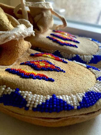 moccasins: Beaded Native American moccasins