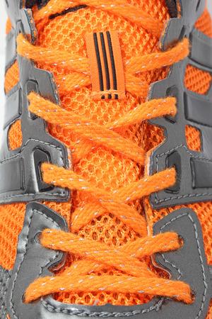 shoelace: close-up macro running shoelace