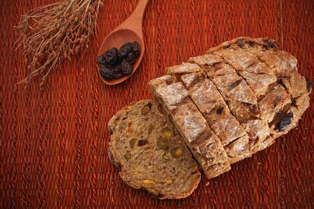 multi grain: slice of multi grain bread with decorated
