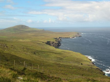 A magnificent view of cliffs and ocean from the hills at the Foger Cliffs, Valentia Island, Ring of Kerry, Ireland Stock Photo - 7869663
