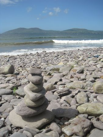 A tower of stones on the beach, in Waterville, Co. Kerry, Ireland