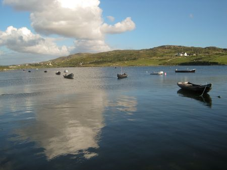 Boats in a fiord, in Sky Road, Clifden, Ireland