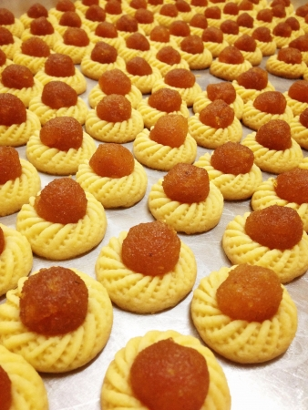 goldy: Goldy delicious Jam Tart. The most popular Malaysian festive cookies Stock Photo