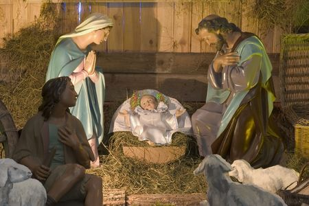 incarnation: Day nursery with figures of baby Jesus, Maria and Joseph, the shepherd and animals Stock Photo