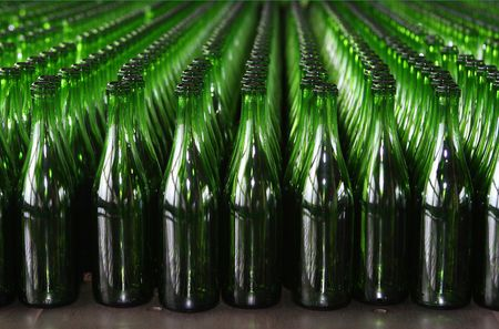 Numbers of empty green bottles