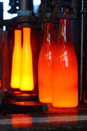 On manufacture: the heated bottles Stock Photo