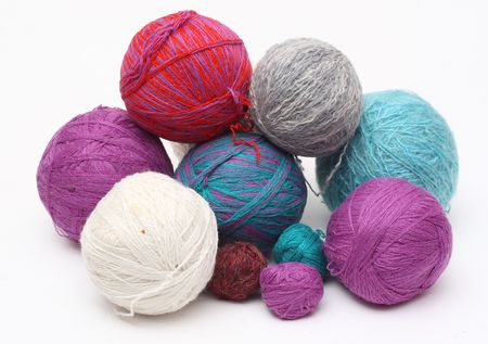 colorful wool yarn clews Stock Photo
