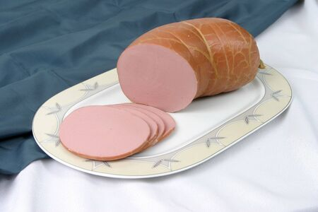 boiled sausage: Boiled sausage on a plate