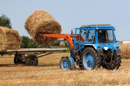 Preparation of hay for the winter a tractor Stock Photo