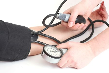 The control of work of heart - measurement of a blood pressure Stock Photo