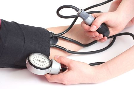 high life: The control of work of heart - measurement of a blood pressure Stock Photo