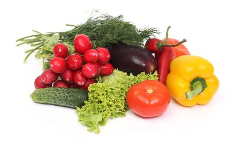 vegetables composition isolated on white photo
