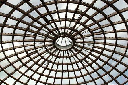 Glass roof with the open ventilating windows