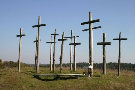 golgotha: Group of crosses on a hill of blue sky