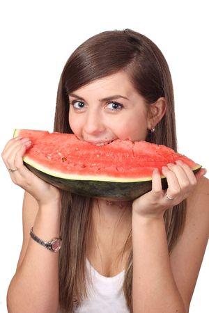 girl eating big slice of water-melon (citrullus)  Stock Photo