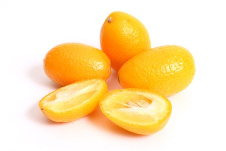 Kumquats (Fortunella) are a type of citrus and can be eaten whole Stock Photo