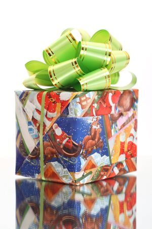Christmas Present with green ribbon photo