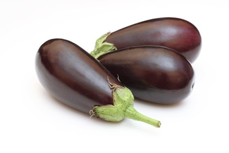 Three eggplant isolated on white