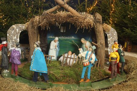 Christmas figures of baby Jesus, Maria, Joseph and other photo