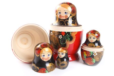 Russian nested dolls, also known as matryoshka, known as the  Stock Photo