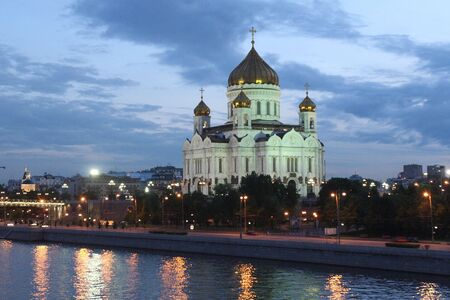 Night view of Cathedral in honor of Christ the Savior in Moscow Stock Photo - 6383263