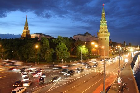 Night view of Kremlin in Moscow, Russia photo