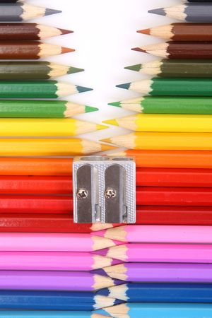 pencil sharpener: Colored pencil zipper on white
