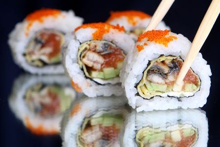 Delicious maki sushi with caviar Stock Photo - 6708791