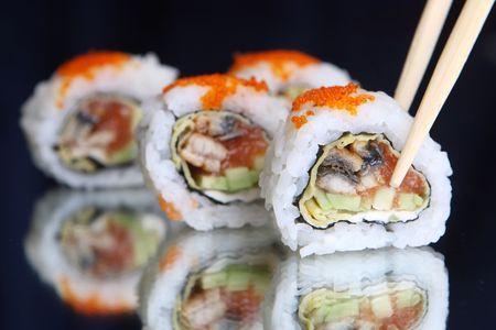Delicious maki sushi with caviar