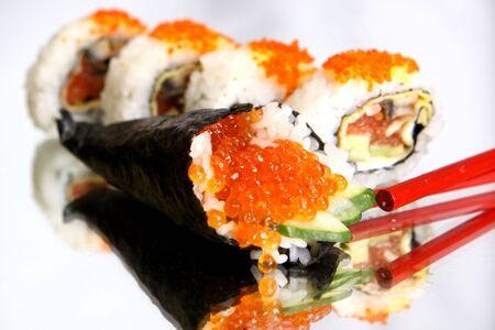 Delicious maki sushi with caviar photo