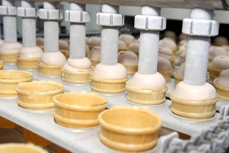 Preparation of ice-cream on factory Stock Photo - 9347874