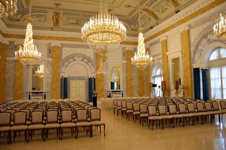 marble palace: Marble hall. The interior of the Marble hall of The National Congress Palace Konstantin palace in St. Petersburg