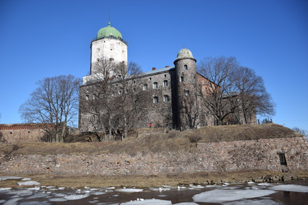 donjon: The castle of Vyborg. Medieval castle fortress surrounded by a moat, was founded in 1293 by the Swedish Marshal Torgils Knutson. It is situated on the North-West of Russia 120 km off St.Petersburg, on the boarder between Russia and Finland. Editorial