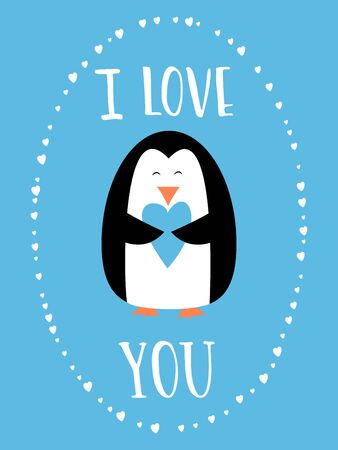 I love you card for Happy Valentines Day. Cute penguin holding heart. Hand drawn words. Illustration