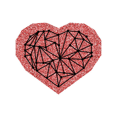 Happy Valentines Day card with red glitter effect heart and black geometric heart. Isolated on white background.