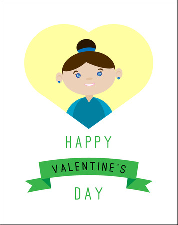 Happy Valentines Day greeting card. Cartoon style. Stock Photo