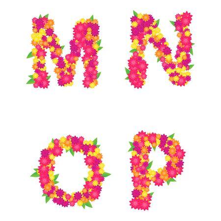 Alphabet letters M, N, O, P. Part 4. Illustration