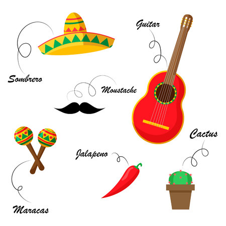 Set of mexican traditional attributes with names.