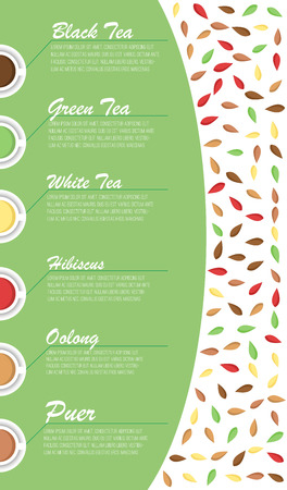 commercial medicine: Tea types with names and text sample. Flat style.