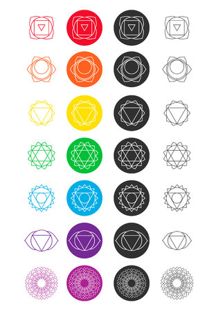 swadhisthana: Set of chakra icons. Colored and black and white. Line art. Illustration