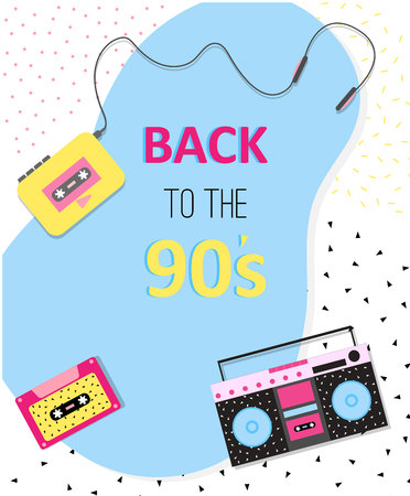 Back to the 90s poster with boombox, cassette and cassette player. Neo memphis style.