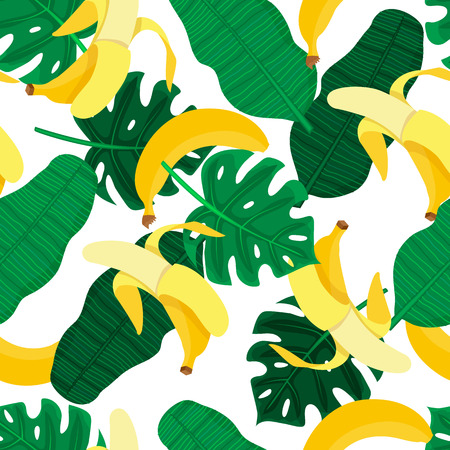 repeats: Seamlesss pattern with hand drawn cartoon style bananas and tropical leaves.