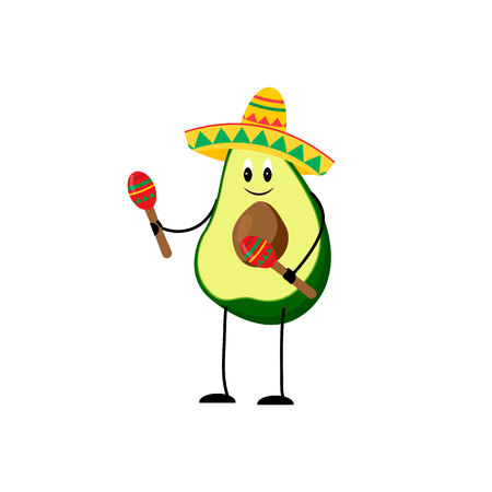 attribute: Funny avocado illustration with mexican traditional attributes. Illustration