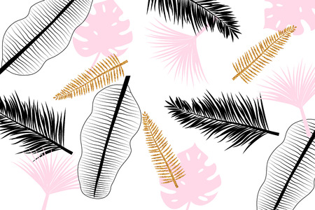 Banner with hand drawn pink, black and golden tropical leaves.
